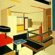6 Casa Rietveld Schroder, perspectiva interior 1924