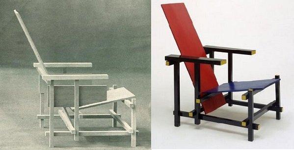 Gerrit Rietveld, Silla Roja y Azul, tecnne