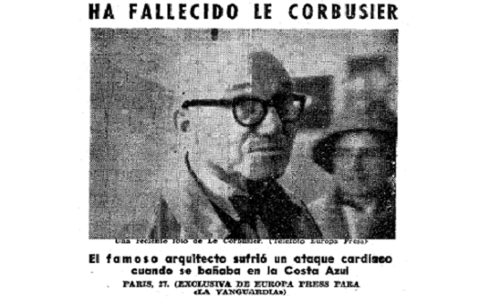 Muerte de Le Corbusier, un documento de prensa