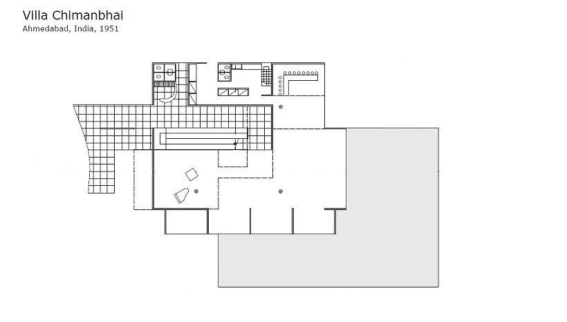 Le Corbusier, Villa Chimanbhai, tecnne