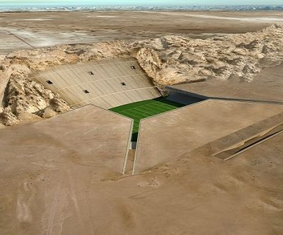 Estadio horadado en el desierto