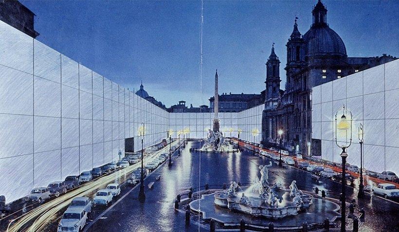 Superstudio, Il Monumento continuo, Piazza Navona, tecnne