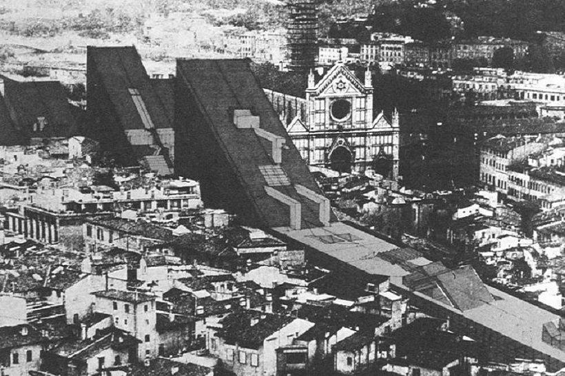 Zziggurat, La città lineare per Santa Croce, 1969, tecnne