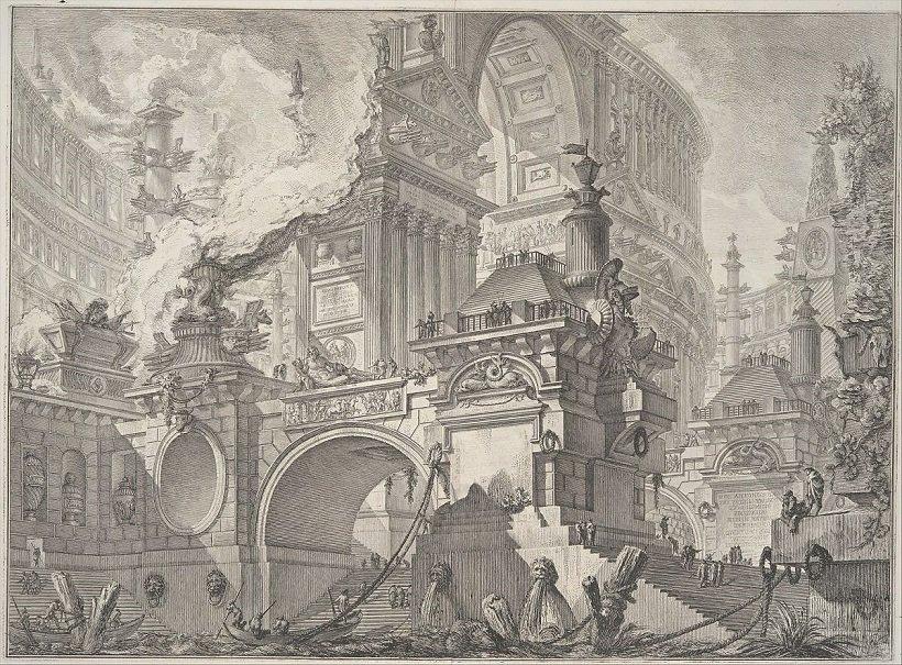 Giovanni Battista Piranesi, Porto all'uso degli antichi Romani, tecnne