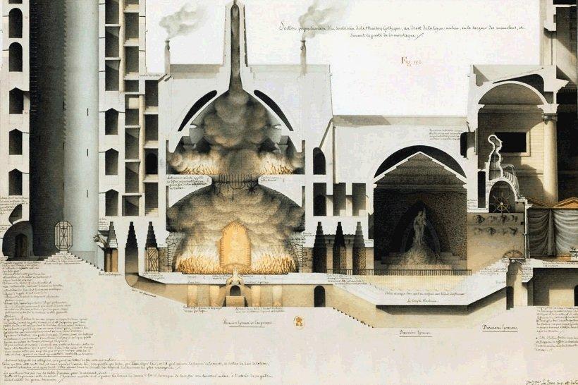 Jean Jacques Lequeu, Maison Gotique, tecnne