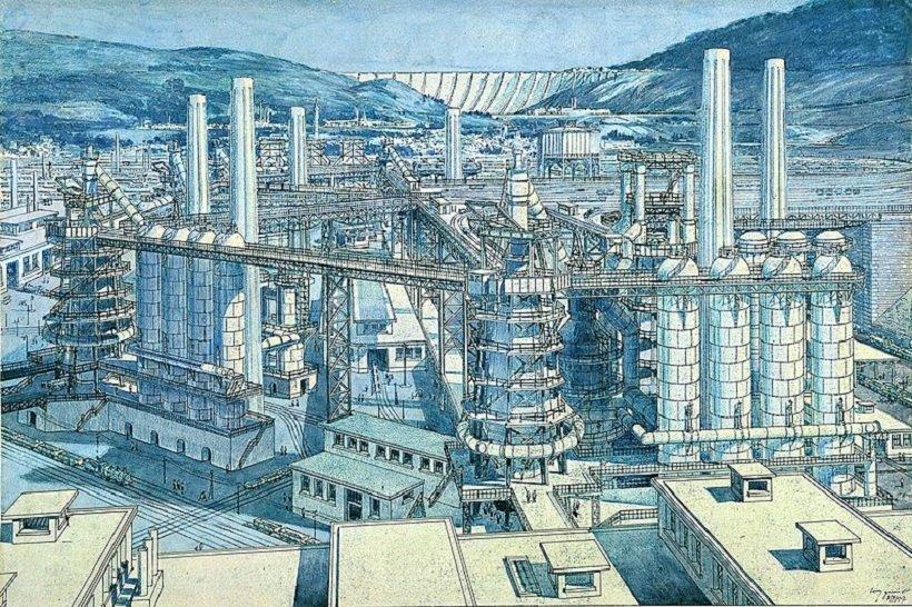 Tony Garnier, Cité industrielle, les hauts fournaux, tecnne