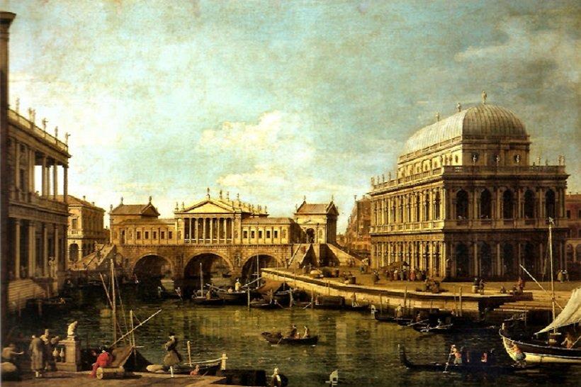 Canaletto, Capriccio con edifici palladiani, 1745, tecnne