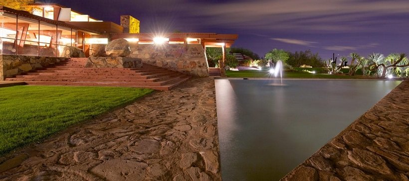 Frank Lloyd Wright, Taliesin West, 1937, tecnne