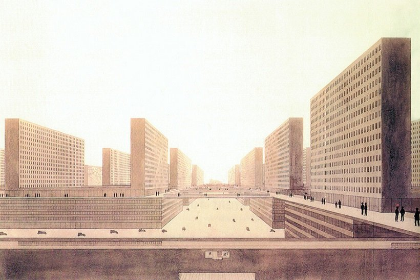Ludwig Hilberseimer, Metropolisarchitecture, 1926, tecnne