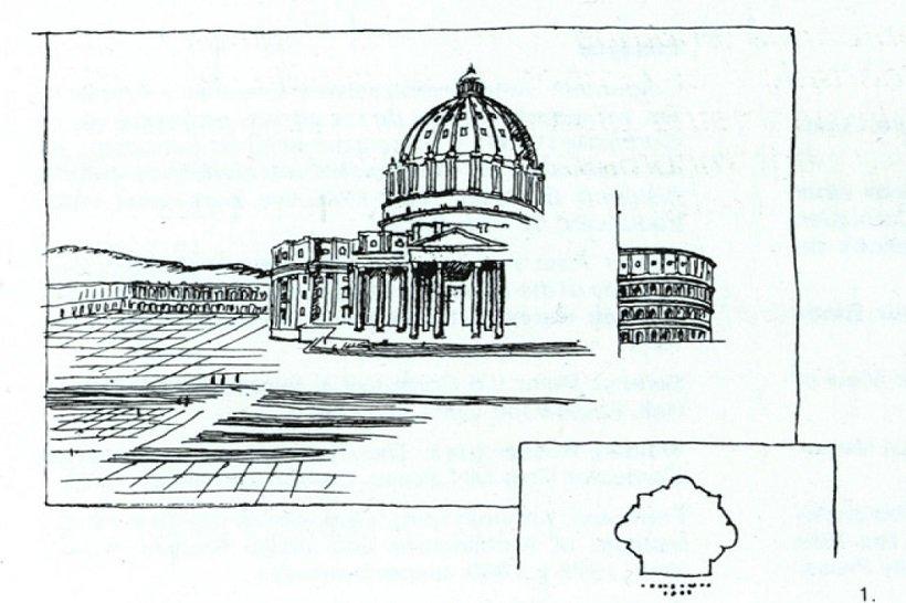 Miguel Angel. San Pedro de Vaticano, boceto de Le Corbusier, tecnne
