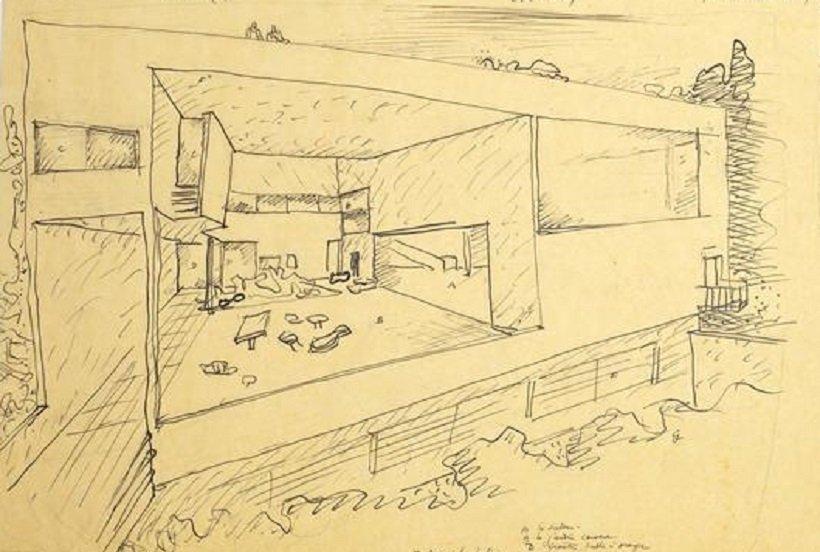 Le Corbusier, Villa Ocampo, perspectiva, tecnne