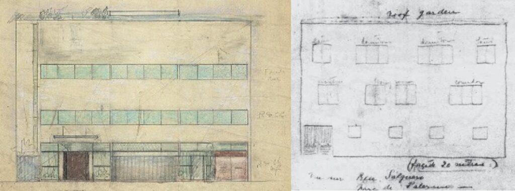 Villa Meyer, Villa Ocampo, elevaciones, tecnne
