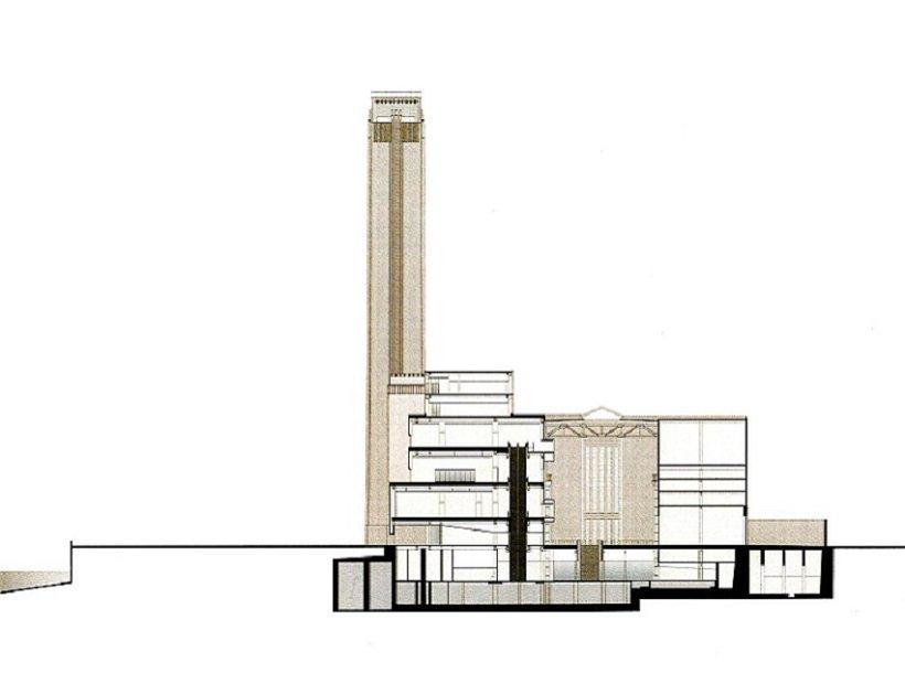 Herzog y de Meuron, Tate Modern, sección