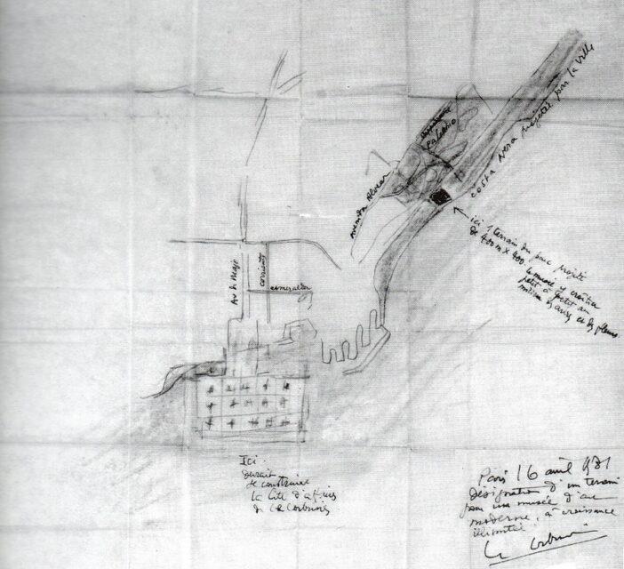 Le Corbusier Museo de crecimiento ilimitado Buenos Aires, croquis de ubicación